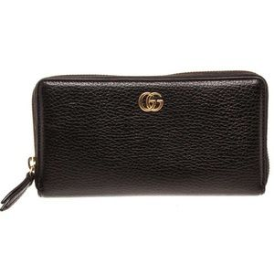 Gucci Black Leather Marmont Zippy Wallet